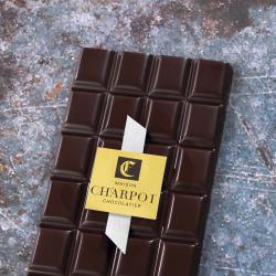 Notre tablette noir sans sucre 65 % de cacao ruban blanc