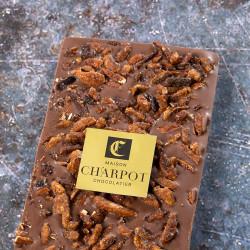 Tablette en chocolat au lait 39 % de cacao avec amandes caramélisées