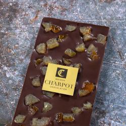 Tablette en chocolat noir 66 % de cacao avec écorces d'oranges confites