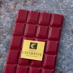 Tablette en chocolat framboise 35,9 % de beurre de cacao